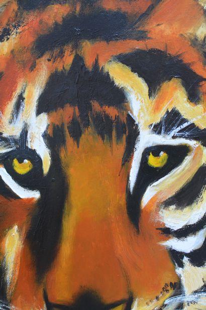 """BREMBOR Georges """"Le Tigre"""" Huile au couteau et pinceau sur toile fond travail de..."""