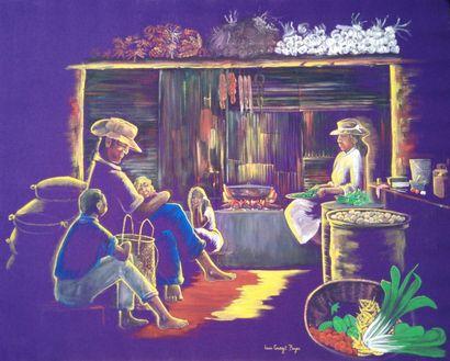 """BOYER """"La chaleur du foyer"""" Acrylique sur toile 80x 100 cm signée.    Frais de transport..."""