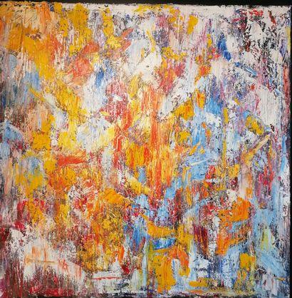 """LONGHI-DE BOÜARD Rosie """"Manège Céleste""""Huile sur toile  80 x 80 cm signée.    Frais..."""