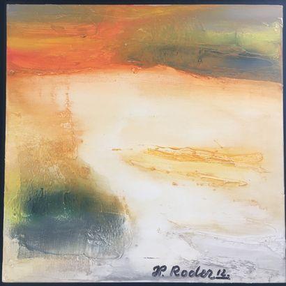 """RODER Jean-Pierre """"Peindre nos yeux sans sommeil"""""""" Huile sur toile 50x50 signée,..."""