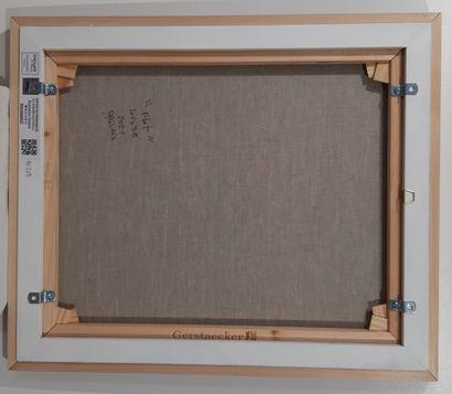 """DAGUAIS """"Flot"""" Acrylique sur toile de lin réalisé au couteau et pinceau 46 x 38 cm..."""