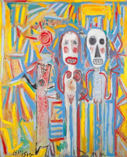 """AZNAR Efisio """"Saint Valentin"""" Huile sur toile 80 x 100 cm signée.    Frais de transport..."""
