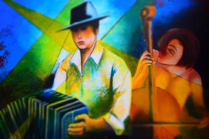 """BREMBOR Georges """"Les musiciens"""" Huile sur toile 100 x 100 cm signée en rouge en bas..."""