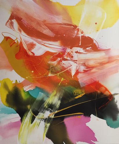 """DE MONT Milanda """"#Imagination"""" Aquarelle acrylique et émail sur toile 100 x 120cm..."""