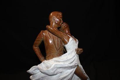 """CANTIN Josiane """"Duo"""" Sculpture en bronze H : 36 cm sur socle 31 x 11 cm Fondeur d'Art..."""