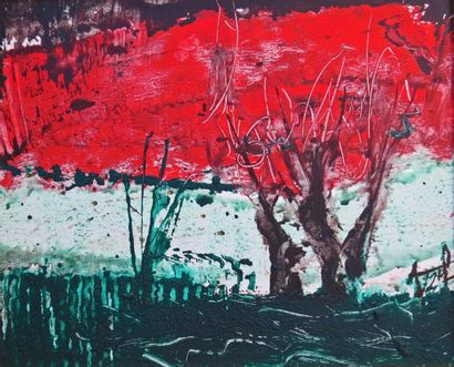 """DONNEAUD Jacques """"Saules et coquelicots"""" Technique mixte sur toile peinture acrylique..."""