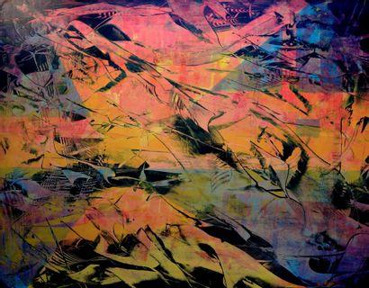 """ALLARD Michel """"Ascension"""" Acrylique cires médiums sur papier marouflé sur toile 146..."""