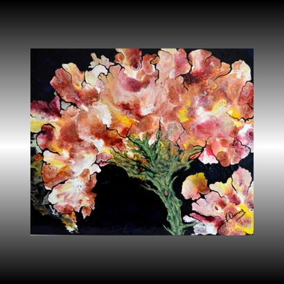 """DUREUX André """"Espèce Florale"""" Acrylique et huile sur toile 54 x 65 cm signée.    Frais..."""