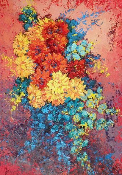 """BERTAUDIERE Nita """"Bouquet de mon jardin"""" Huile sur toile 55 x 38 cm signée.    Frais..."""
