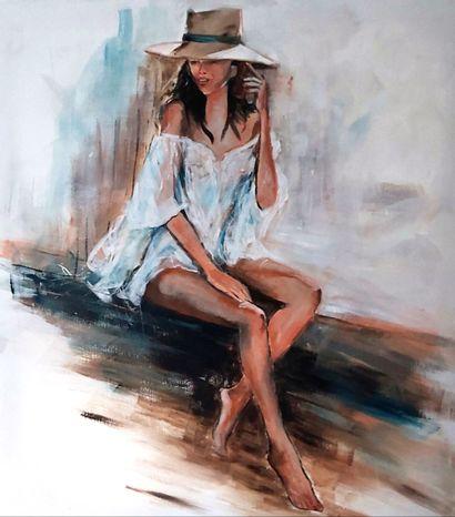 """CARTIER Eliane """"L'aventurière"""" Acrylique sur toile 100 x 90 cm signée.    Frais de..."""