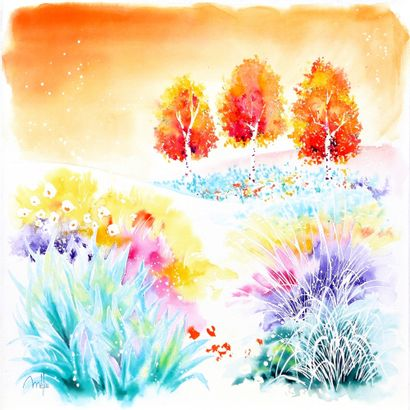 """MELOU Lucien """"Garden of paradise n°10"""" Watercolor on canvas 50 x 50 x 4 cm signed...."""