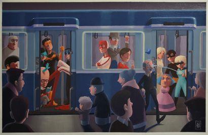 ARTHUR «Métro» Huile sur toile 35 x 55 cm, 44 x 60 cm avec marge, signée en bas...