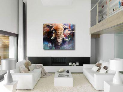 """DELAGACHETTE """"5 Tons"""" Acrylique sur toile 138 x 114 x 4 cm signée au recto datée..."""