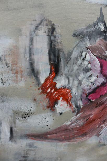 """KARLY ET ANNE V """"Black Jack"""" Acrylique sur toile 80 x 80 x 4 cm signée au dos.  ..."""