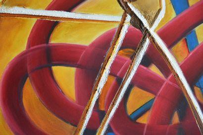 """BREMBOR Georges """"Noeud Gordien"""" Huile sur toile au couteau et pinceau 80 x 100 cm..."""