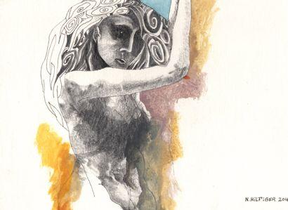 """N. HILFIGER Nicolas """"Femme arabesque"""" Dessin aux crayons de bois aquarelle et stylo..."""