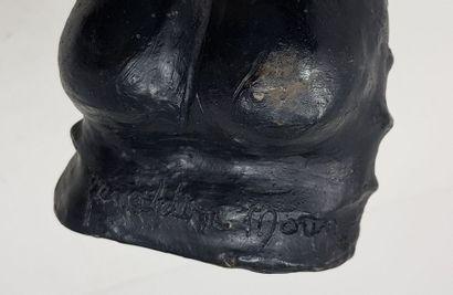 MORIN Géraldine (1976) Femme au turban Sculpture en bronze à patine noire n°4/8,...