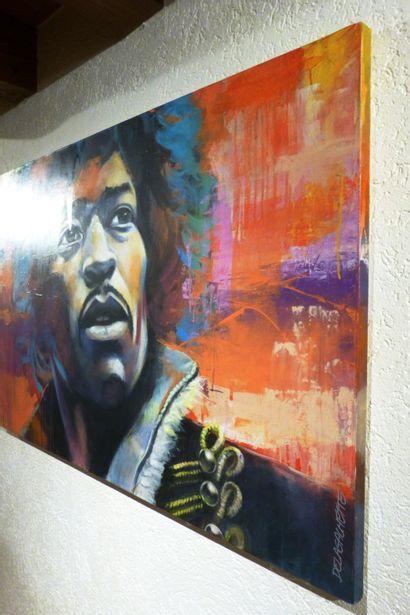 """DELAGACHETTE """"Jimi"""" Acrylique sur toile 135 x 90 x 3,5 cm signée au recto datée et..."""