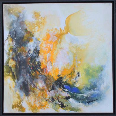 "MOCANU Steliana ""Exubérance"" Huile sur toile 60 x 60 cm signée.    Frais de transport..."