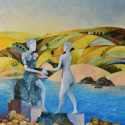 "BLIN Yves ""The eternal return"" Oil on canvas 70 x 70 cm signed.    Free shipping..."