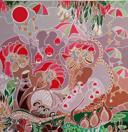 """DOMEC Annie """"Les Parapluies"""" Acrylique sur toile  80 x 80 cm signée.    Frais de..."""