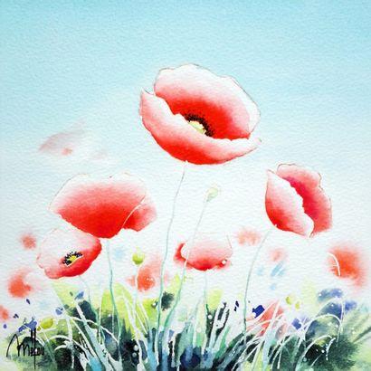 """MELOU Lucien """"Coquelicots"""" Aquarelle marouflée et vernie sur toile 20 x 20 x 4 cm..."""