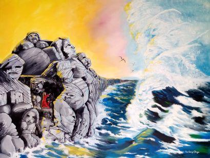 """BOYER """"Pour que la Vie continue"""" Acrylique sur toile 114 x 146 cm signée.    Frais..."""