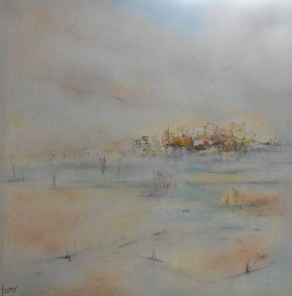 PASRO Pascal ''Douceur de brume'' Huile sur toile 60 x 60 cm signée en bas a gauche....