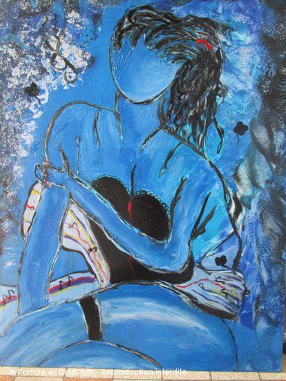 """JENO """"Eveil musical"""" Mixed media acrylic and wax on wood panel 60 x 80 cm signed...."""