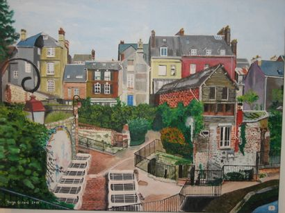 """GIRARD Serge """" Quartier du Tripot à Honfleur """" Huile sur toile, 55 x 46 cm, signée..."""