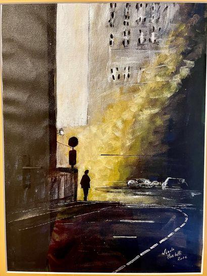 """PORTELLI Linda """" Le passant de New-York """" Acrylique sur toile, 39,5 x 29,5 cm ( avec..."""