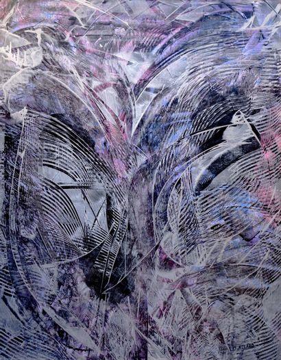 """ALLARD Michel """" Fluidité """" Acrylique, cire, médium sur papier marouflé sur toile..."""