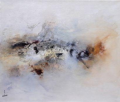 """CHANDI """" Une porte vers la sérénité """" Acrylique et sable sur toile de lin, 55 x 46..."""