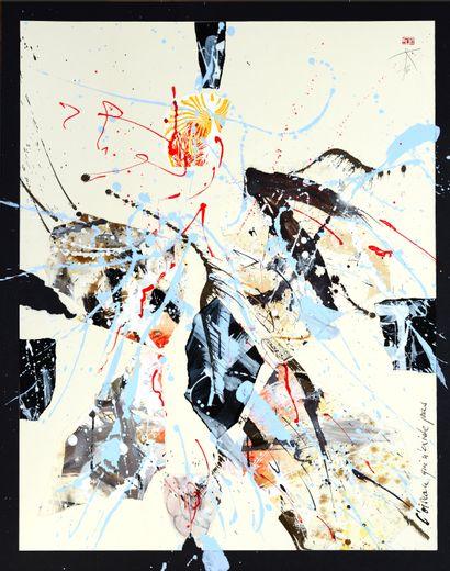 """KRAUS Roland (né en 1942) """" L'oiseau qui n'existe pas…"""" Déchirure-collage d'œuvres..."""