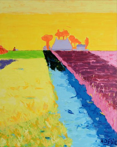 HOEDIE (né en 1960) Peinture sur toile 100 x 80 cm signée en bas à droite. Photos...