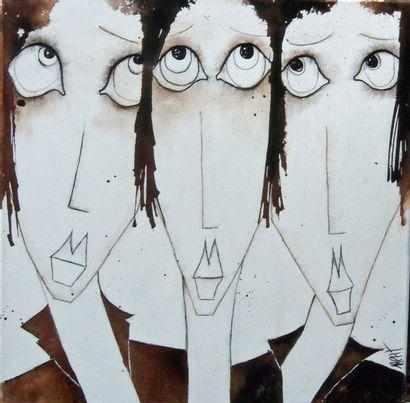 """HENRIOT Marie """" Les triplettes 2 """" Acrylique sur toile, 50 x 50 cm, signée en bas..."""