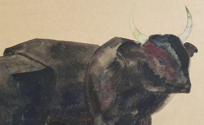 Georges Lucien GUYOT (1885-1973) Taureaux Aquarelle de 1925, 30 x 40 cm (53 x 63...