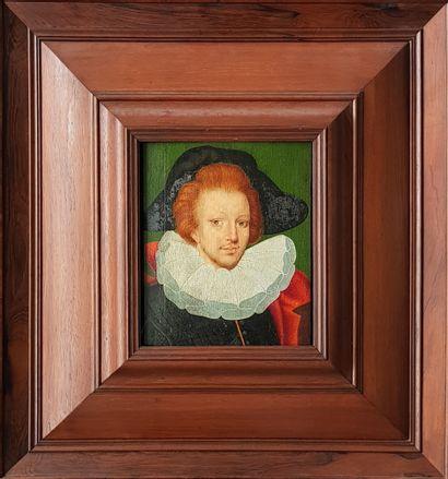 Prince florentin Huile sur bois c.1800, 28 x 21,5 cm dans son imposant cadre en bois...
