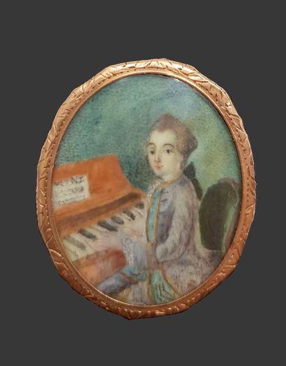 Wolfgang Amadeus Mozart (1756-1791) Miniature sur porcelaine du XVIIIe siècle dans...