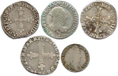 Lot de cinq monnaies royales françaises en argent (13,45 g les 5)