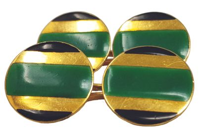 Deux paires de boutons de manchettes Or et cabochons en pierres de Lune, boutons...
