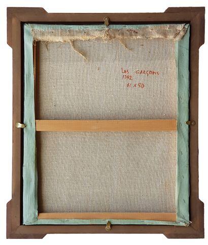 DAÏMA (née en 1959) Les garçons Huile sur toile 61x50 cm (70x58cm avec cadre) signée...