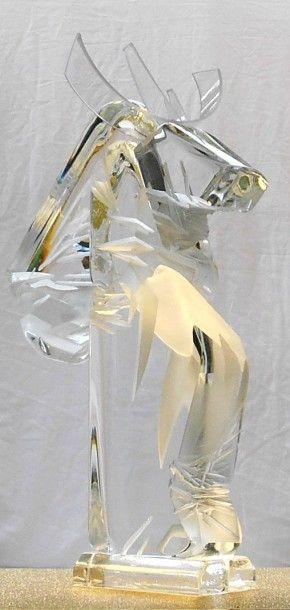 """DAMIAN EYRIGNOUX Monica """"Cal (cheval à cornes)"""" Sculpture en cristal, feuille d'or..."""