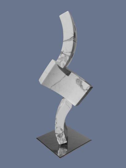 """VAQUIE Philippe """"Dominos agités"""" Sculpture en marbre de Carrare taille directe, socle..."""