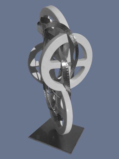 """VAQUIE Philippe """" Septième Art en liberté """" Marbre de Carrare taille directe, aluminium..."""