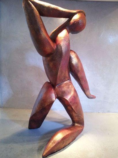 """ZOU """"Samba"""" sculpture en résine de polyester. Poids : 7 kg Dimensions 43x22x24cm...."""