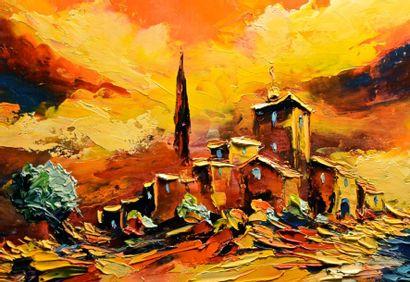 """CROUZET Gérard Henri """"Paysage d'Ardèche"""" Huile au couteau sur toile signée 38x55cm..."""