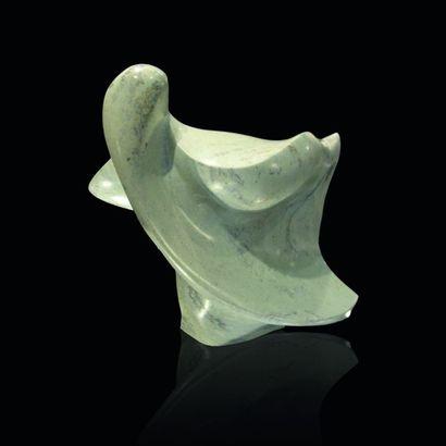 """GUINOIS - MESSICA Pat """"Eiréné"""" (déesse grecque de la paix) Sculpture en pierre vert..."""
