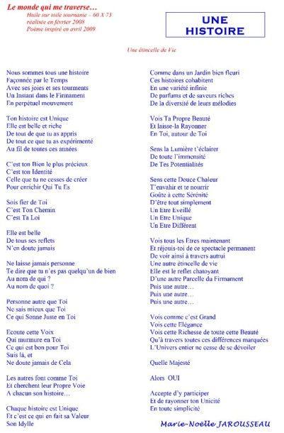 """JAROUSSEAU Marie-Noëlle """"Une histoire..."""" Huile signée 60x73cm - Frais de transport..."""