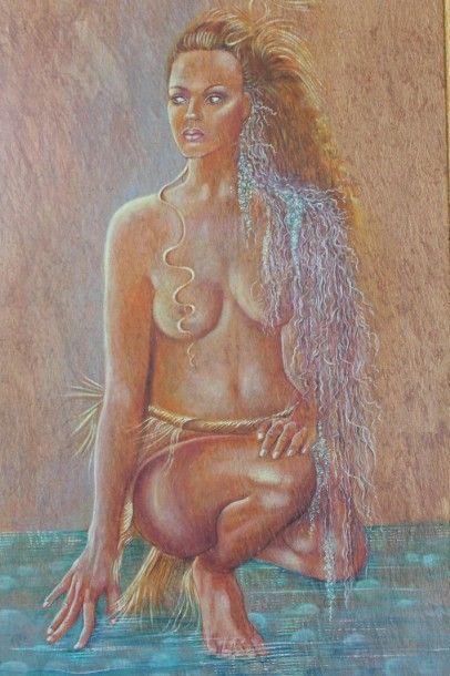 """LEDOUX Gisèle """"La femme liane"""" - Huile sur fibre végétale Tapa signée 55x95cm encadrée..."""
